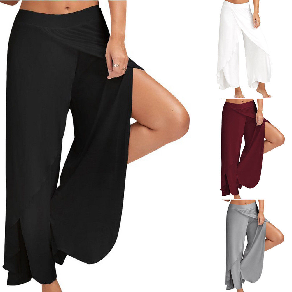 New Fashion Womens Sexy Casual Pants Plus Size M-5xl Soft Hot Sale Palazzo Wide Leg Pants Fold Over High Waist Women's Clothing