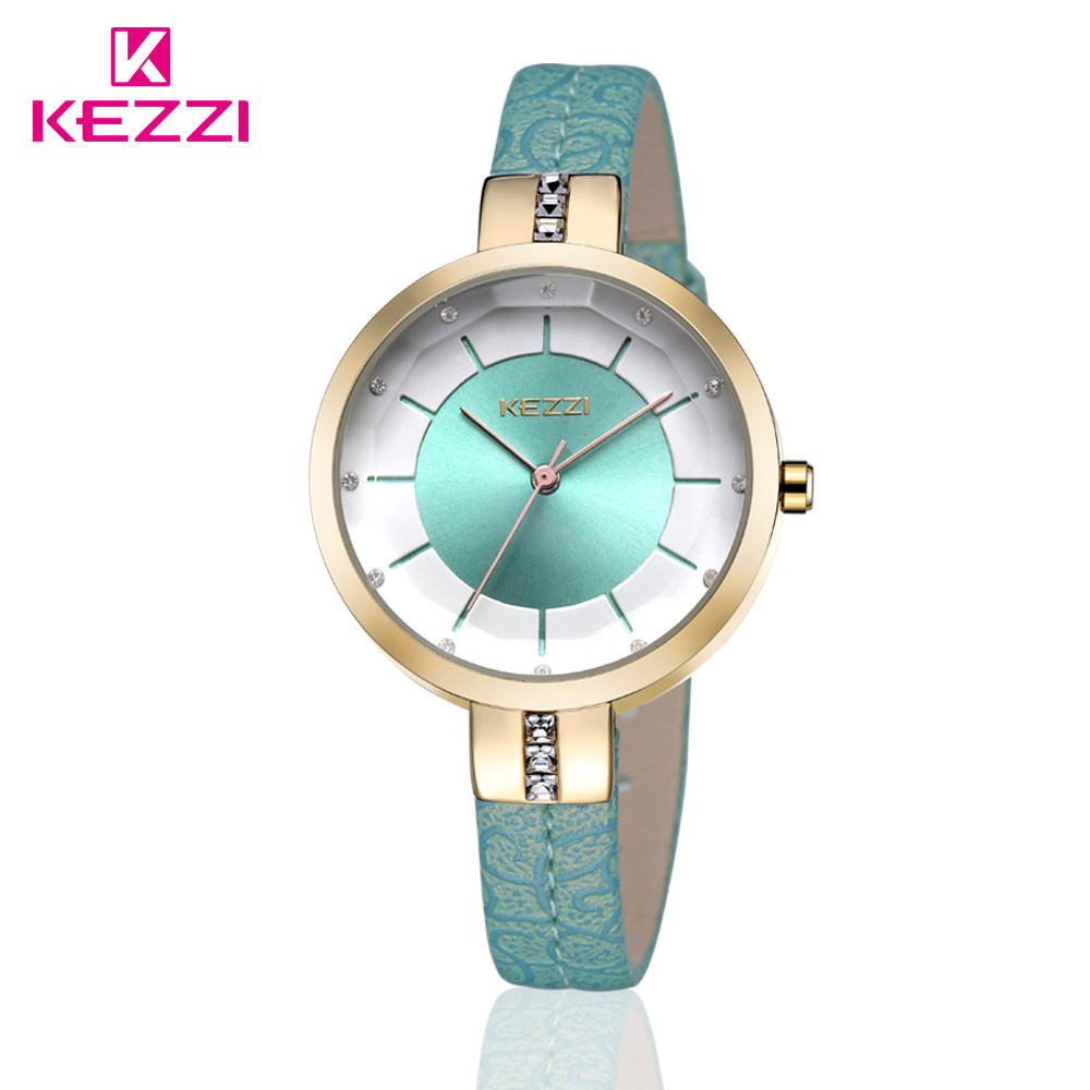 KEZZI Brand Women's Leather Strap Wrist Watches Fashion Inlay Rhinestone Simple Dial Japan Movement Quartz Ladies Watch Relogio