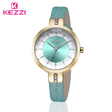 New KEZZI Brand Women's Leather Strap Wrist Watches Fashion Inlay Rhinestone Spell Color Dial Japan Movement Quartz Ladies Watch все цены