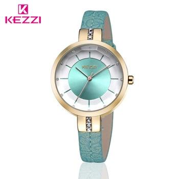 KEZZI Brand Women's Leather Strap Wrist Watches Fashion Inlay Rhinestone Simple Dial Japan Movement Quartz Ladies Watch Relogio