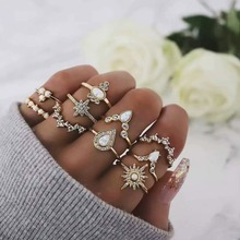 10PCS/Set New Fashion Nature Stone Heart Ring Set Exquisite Crystal Circle Gold Rings Bohemia Style Chain Shape For Women