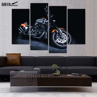 HD Framed Painting Canvas 4 Panel Speed Motorcycles Race Wall Art Picture Home Decoration For Bedroom