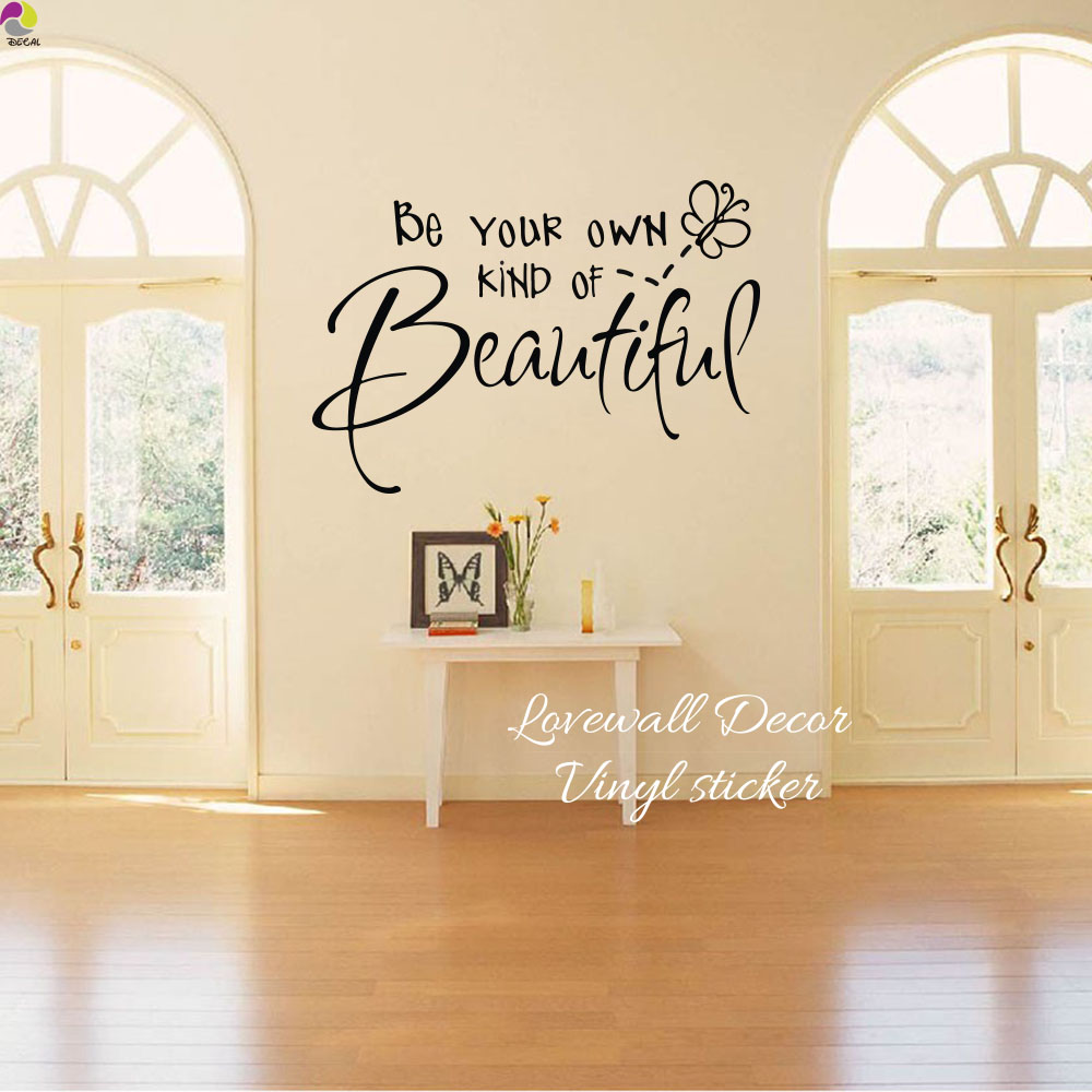 Be your own kind of beautiful quote wall sticker living - Beautiful wall stickers for living room ...