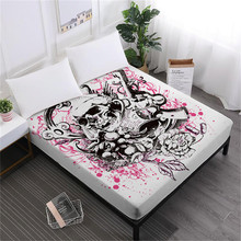 Hot Pink Sugar Skull Bed Sheet Pistol Flower Print Fitted Sheets Ladies New Design Bedclothes Elastic Band Mattress Cover D25 недорого