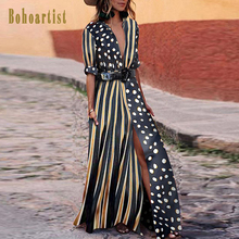 Bohoartist Women Long Dress Dot V Neck Loose Boho Maxi Muslim Clothes Bohemian Vacation Fall Striped For Girl 2019
