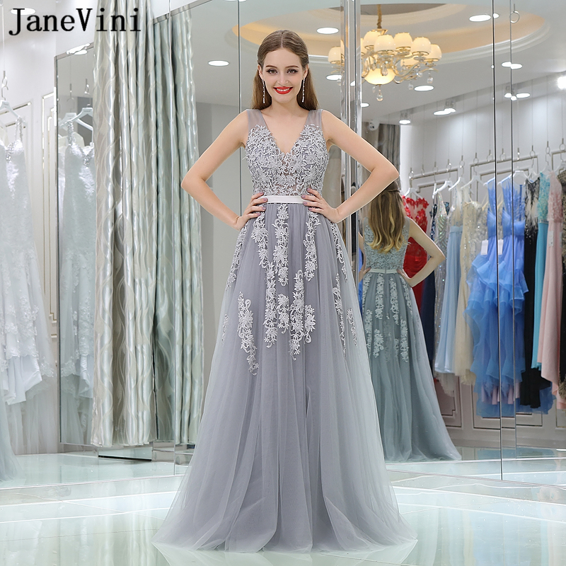 JaneVini Elegant A Line Gray   Bridesmaid     Dresses   Lace Appliques Floor Length Tulle Long Prom   Dress   Sexy Deep V Neck Formal Gowns