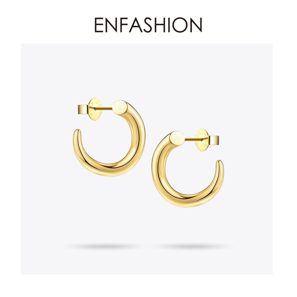 Enfashion Punk Stud Earring Stainless Steel Gold Color Earrings Geometric Teeth Earrings For Women Trendy Jewelry EB171041