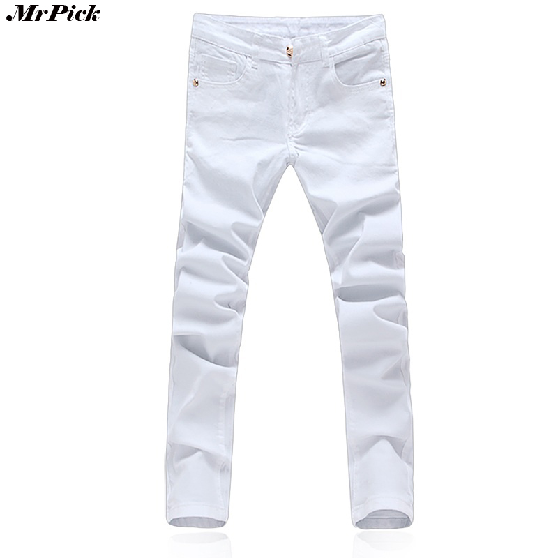 2017 New Stretch Skinny Men Solid Color Jeans Fashion Casual Black And White Pencil Jeans