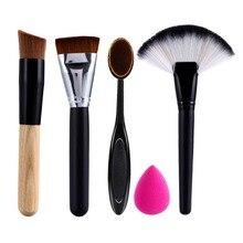Makeup Brush Set 2pcs Makeup Brushes +Powder Blush Foundation Brush+Sponge Puff + Contour cosmetic tool pinceis de maquiagem