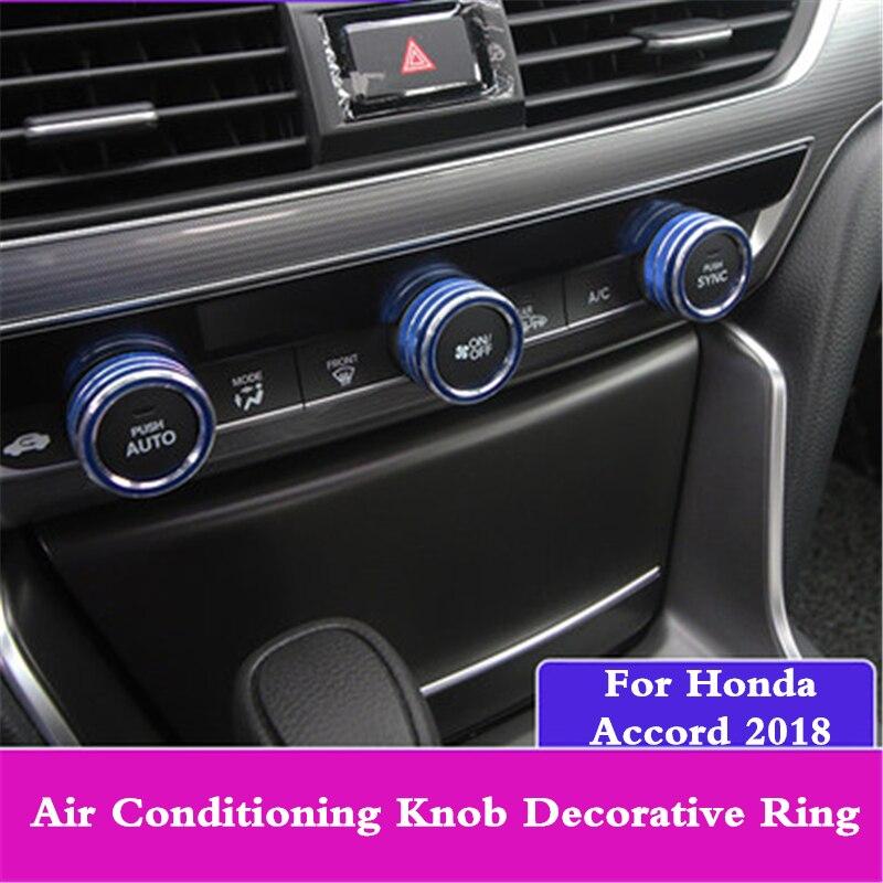 2Pcs Blue Aluminum Interior Audio Knob Switch Cover Ring For Honda Accord 2018
