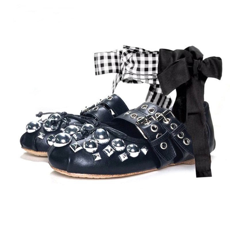 Women Butterfly-knot Decorations Ballet Flats Black Leather Rivets Studded Flat Shoes Round Toe Cross Tied Casual Flat Shoes trendy black and criss cross design flat shoes for women