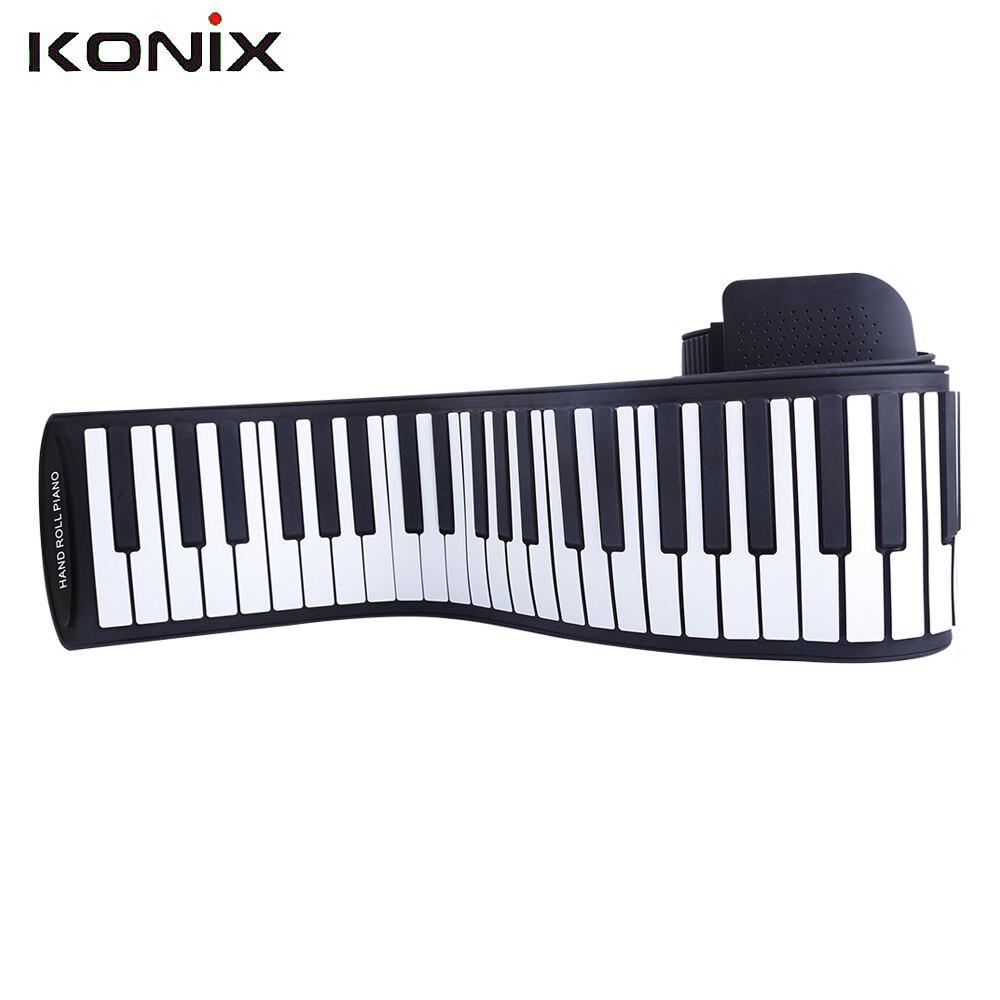 KONIX 88 Key White MIDI Flexible Electronic Roll Up Piano PA88 With Battery midi клавиатура 88 клавиш miditech i2 stage 88