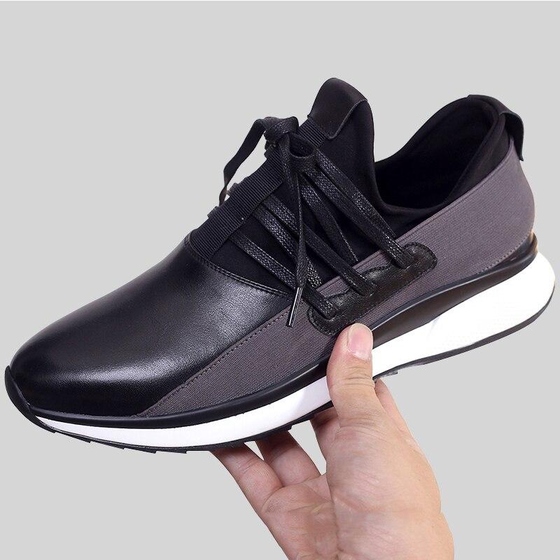 Designer Stil Wohnungen Leder Black Lace Up Fashion Lace Männer up Freizeitschuhe Britischen Schuhe Turnschuhe 2018 Mycolen Schwarzes Echtem X8wqvv