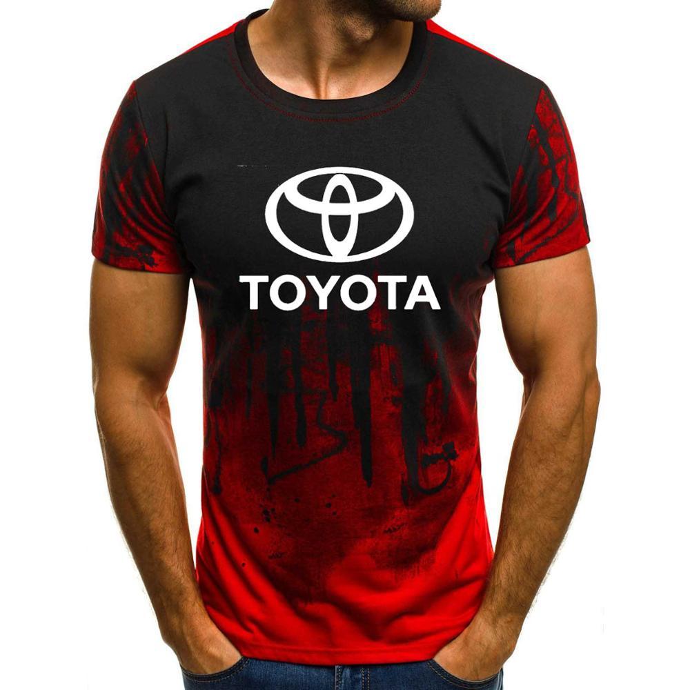 Mens Short Sleeve Toyota Car Logo Mens T-shirt Summer Casual Cotton Gradient T Shirts Fashion Hip Hop Harajuku Male Brand Tee