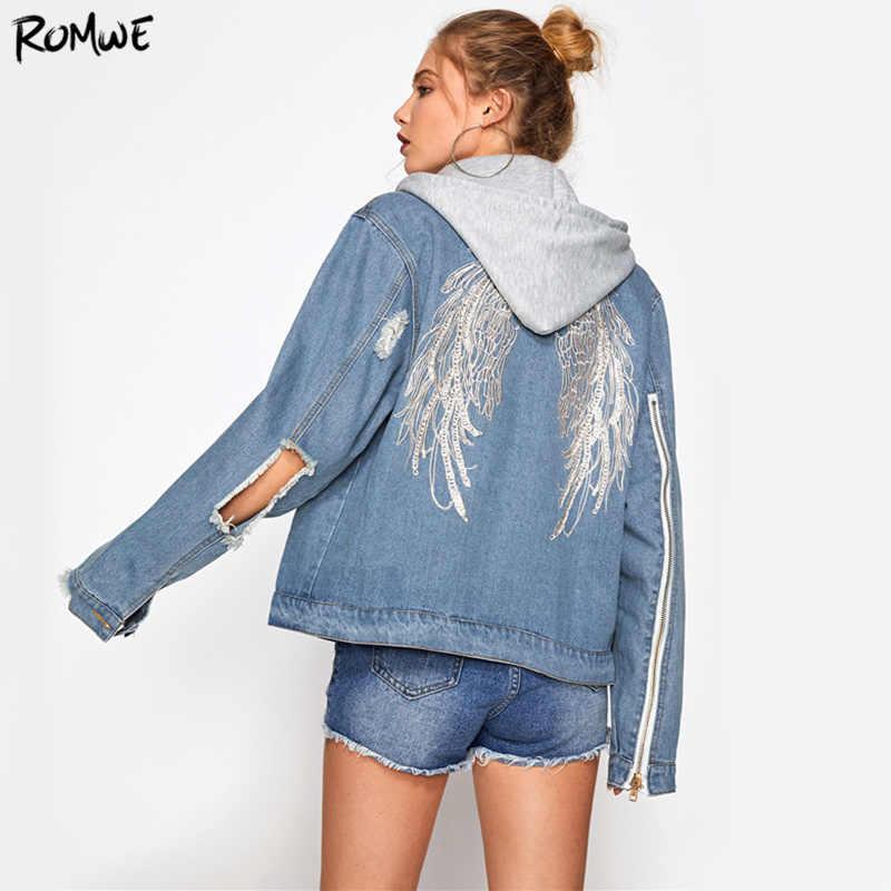 363ee3d41e ROMWE Wings Back Embroidery Jacket Blue Denim Coat Women Cut Out Punk  Hooded Jackets Autumn Zip