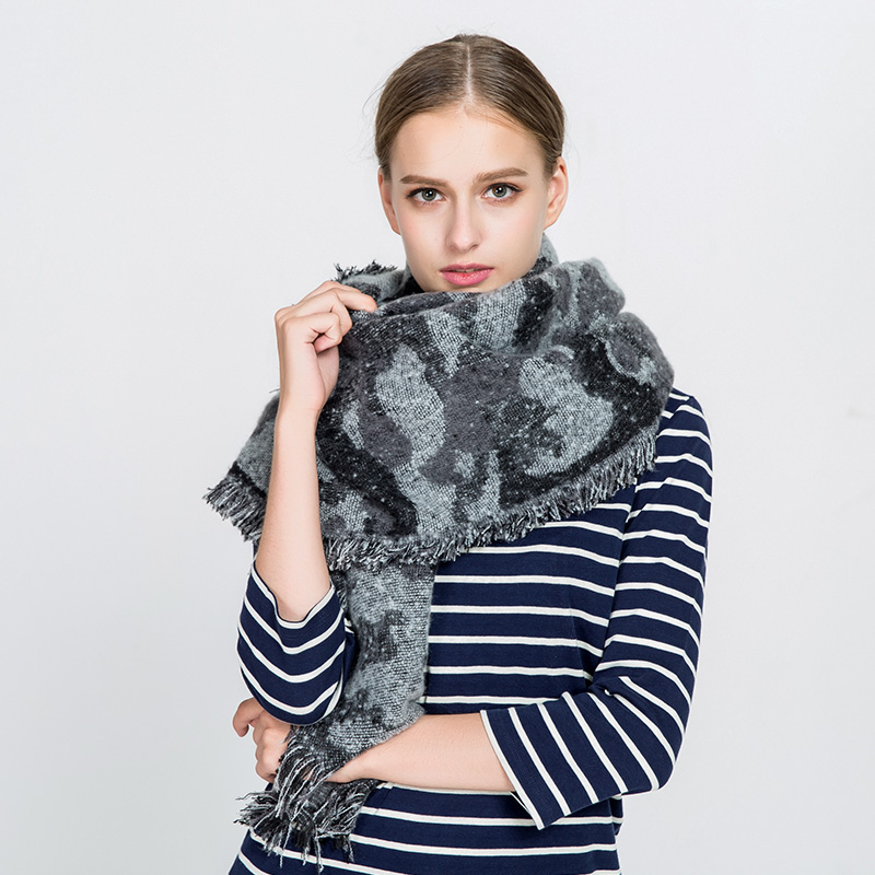 Women Scarf Winter Shawl Tippet Blanket Scarf Warm Soft Pashmina Wrap Camouflage Printed Scarves with Frayed Edge 775149