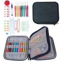 45 Cái/bộ Crochet Hooks Stitches Đan Kim Kit với Zipper Organizer Trường Hợp DIY Thủ Công Mỹ Nghệ Nguồn Cung Cấp Nhà