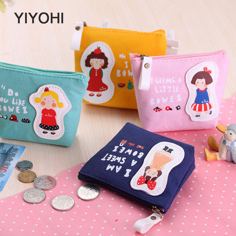 YIYOHI Cotton Canvas Cute Style Novelty Beautiful Gril Zipper Plush Square Coin Bag Purse Kawaii Children Bag Women Wallets
