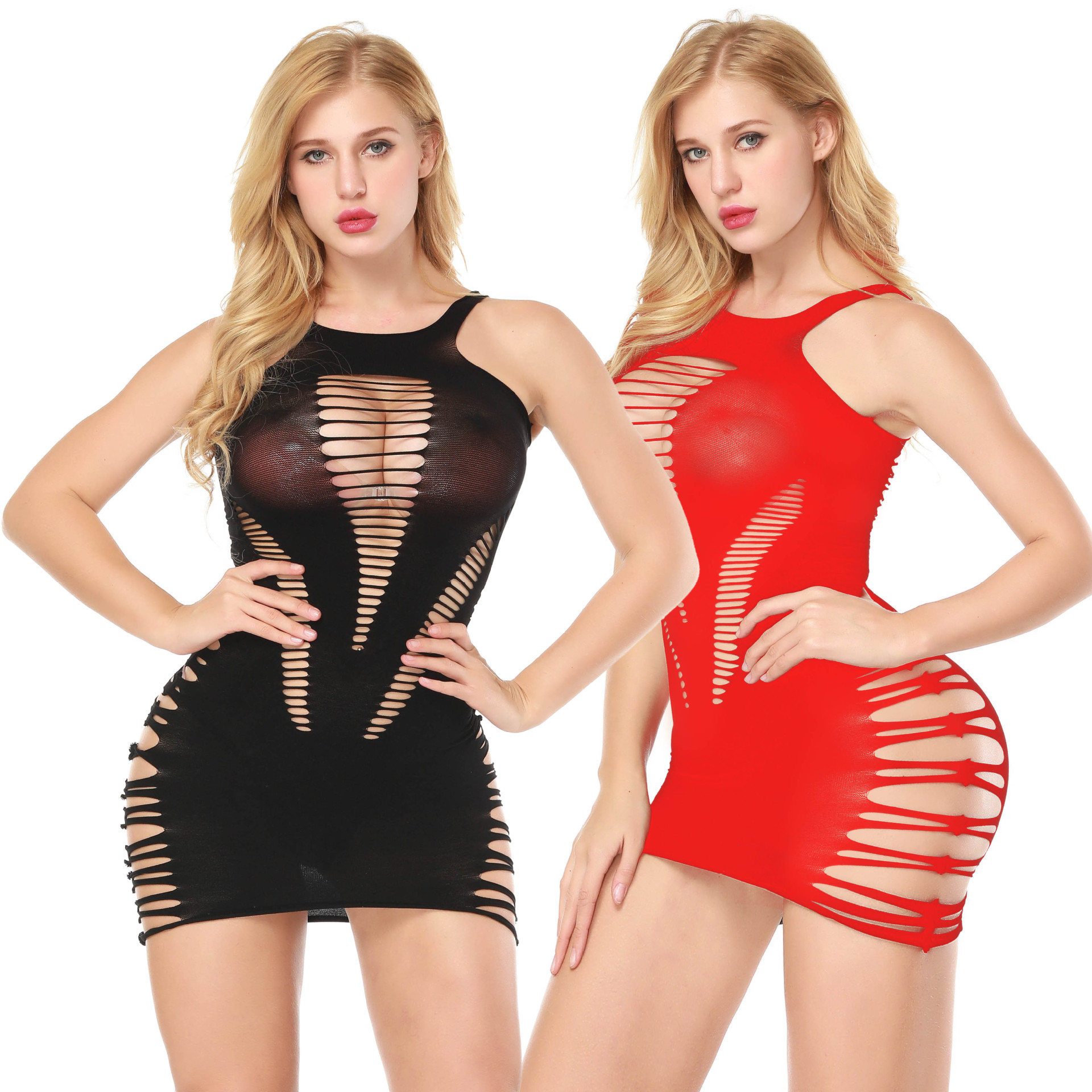 European and American sexy lingerie, suspender dress, two-color jumpsuit, one-piece mesh clothing,Exotic Dresses Exotic Apparel