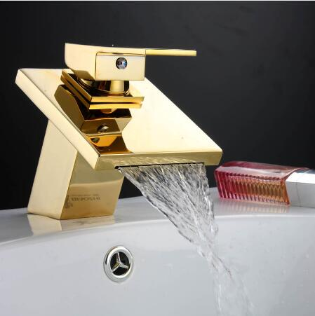 Fashion brass material gold finished bathroom hot and cold single lever water fall basin faucet,sink mixer