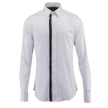 Zipper Dress Shirt For Men Top Quality Slim Fit Long Sleeve S-3XL