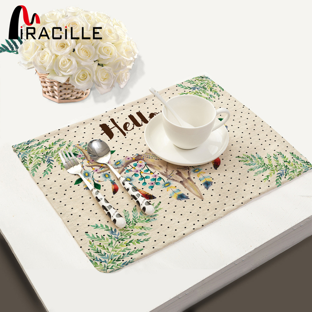 Miracille Animals Series Zebra Deer Squirrel Pattern Kitchen Accessories Set Decoration Home Dining Table Placemat Coaster
