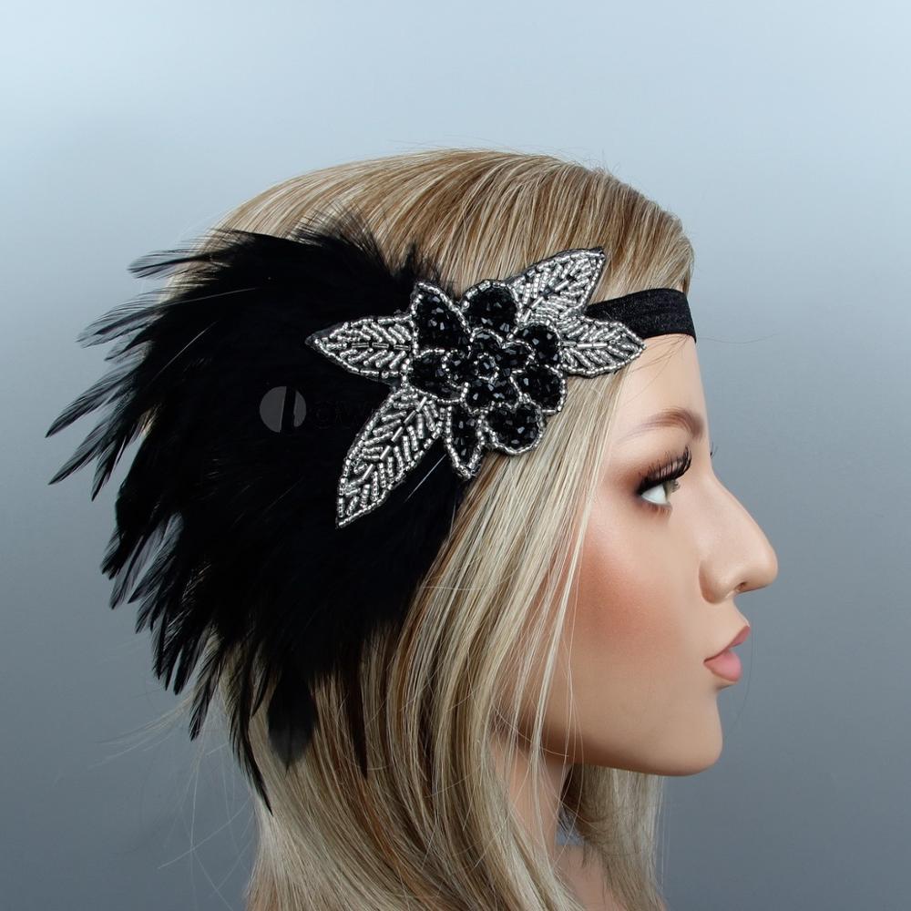 us $8.16  new vintage unique feather flapper headband hair jewelry great gatsby headdress wedding hair accessories headpiece-in women's hair