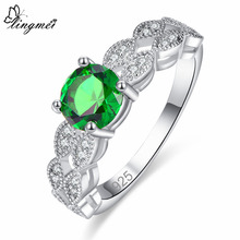 lingmei New Round Cut Green & White Cubic Zirconia Silver Color Ring Size 6 7 8 9 Fashion Simple Women Wedding Jewelry Wholesale