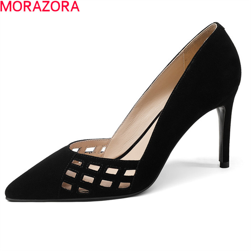 MORAZORA 2018 new style pumps women shoes pointed toe suede leather party wedding shoes sexy elegant shallow thin heels shoes morazora women patent leather pumps sexy lady high heels shoes platform shallow single elegant wedding party big size 34 43