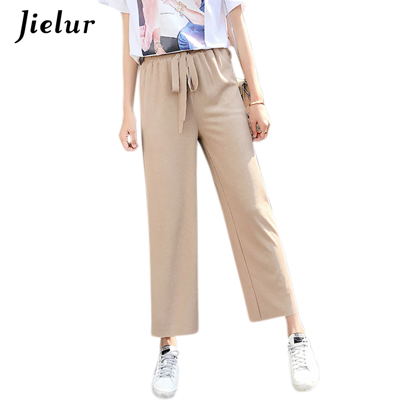 Jielur 2019 Autumn Drawstring Trousers for Women Solid Color Slim Knitted Female   Pants   Korean Mujer   Wide     Leg     Pants   2XL Dropship
