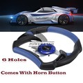 "12.2"" 310mm Frame 6 Holes Blue Aluminum & PVC Leather Car Styling Racing Vehicle Automobile Steering Wheel W/ Horn Button"