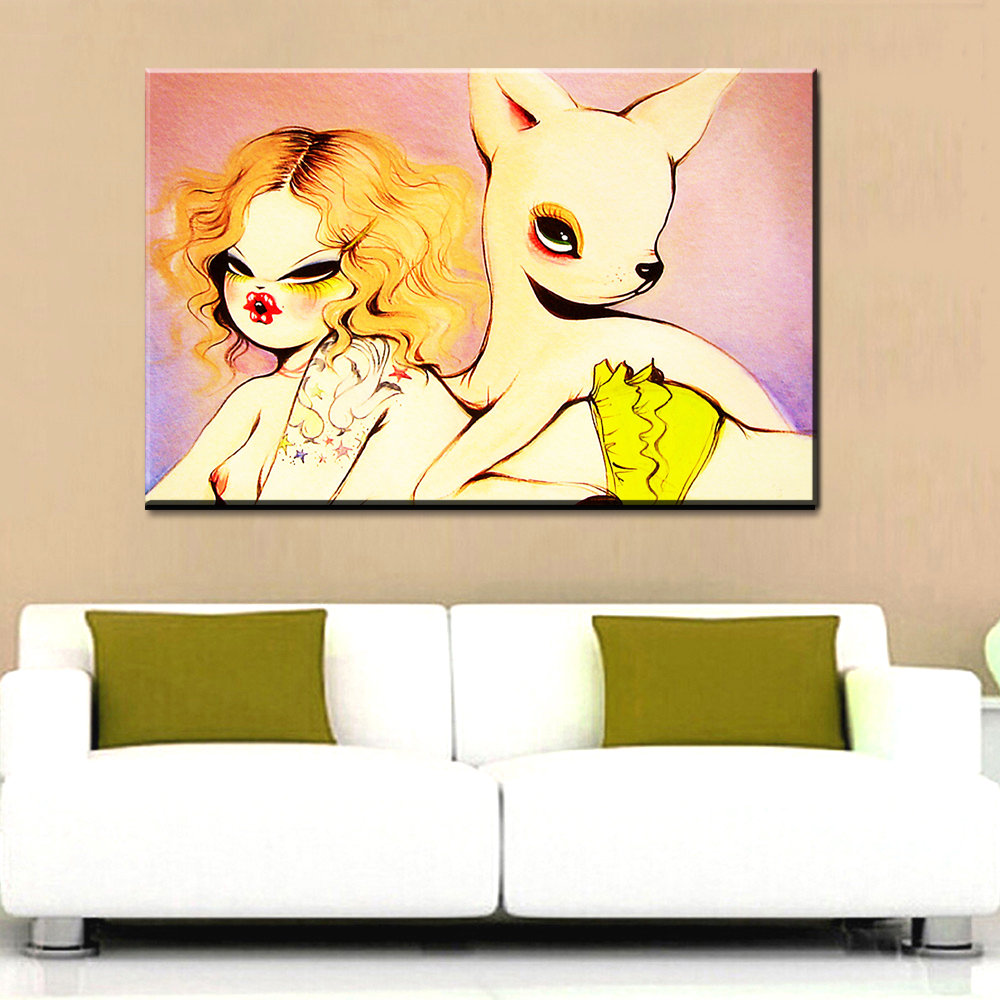 xdr96Graffiti Art Canvas Painting Banksy naughty girl with Deer Art ...