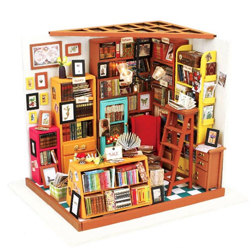nueva llegada handmake diy dollhouse casa de muecas de la librera muebles miniatura d led kit