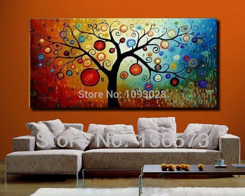 hand painted modern abstract money tree canvas wall art oil