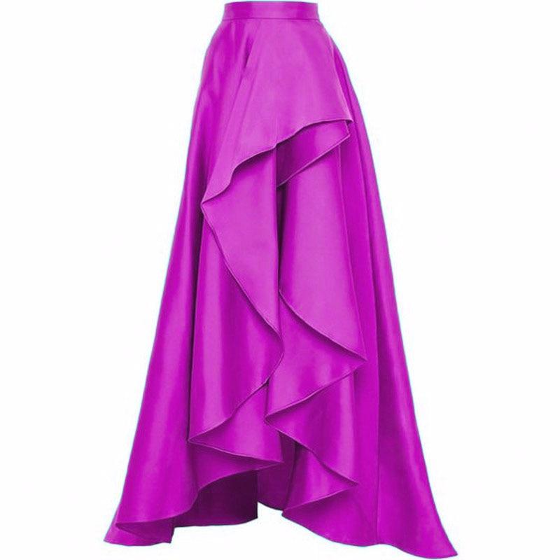 Fashion Fuchsia Ruffles High Low Satin Skirts For Women To Party Zipper Custom Made Long Skirt Female Skirt 2018 Saia Longa