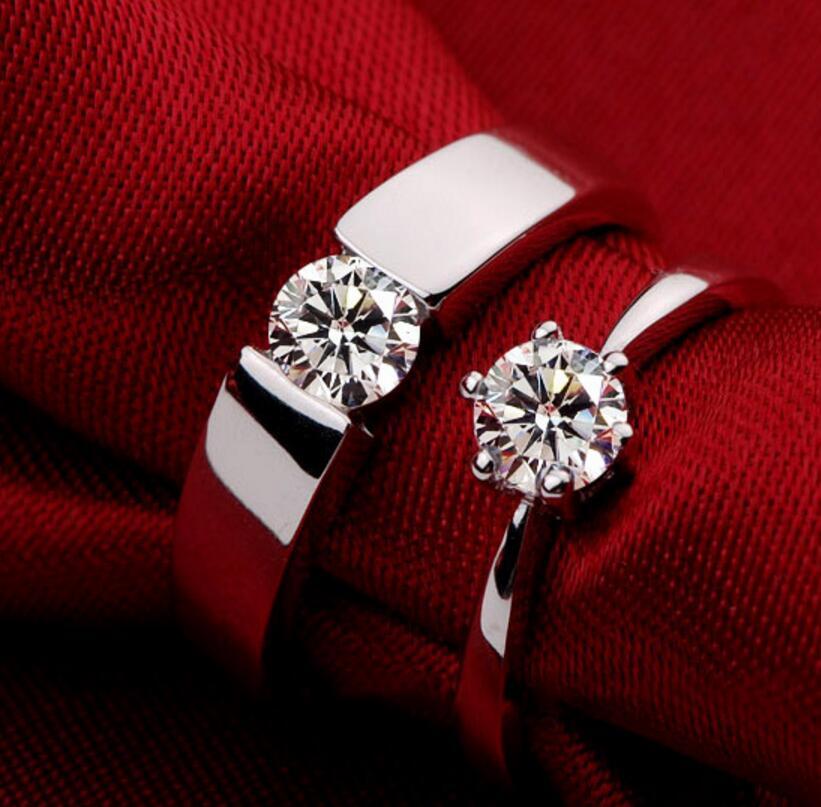 1 carat diamond ring creative models simple engagement wedding men and women couple ring (DFE)