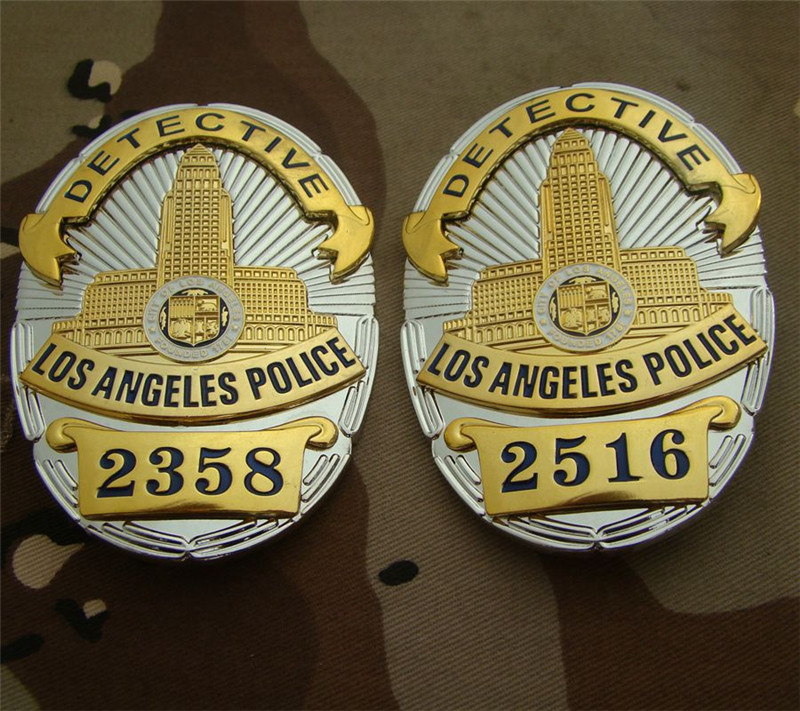 United States LA Los Angeles Police Officer Badges LAPD DETECTIVE Shirt Lapel Badge Brooch Pin Insignia Badge 1:1 Gift Cosplay