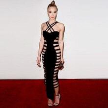Yenilik bayanlar seksi spagetti askı hollow out gece elbise moda orta buzağı siyah çapraz backless elbise parti elbise içinde