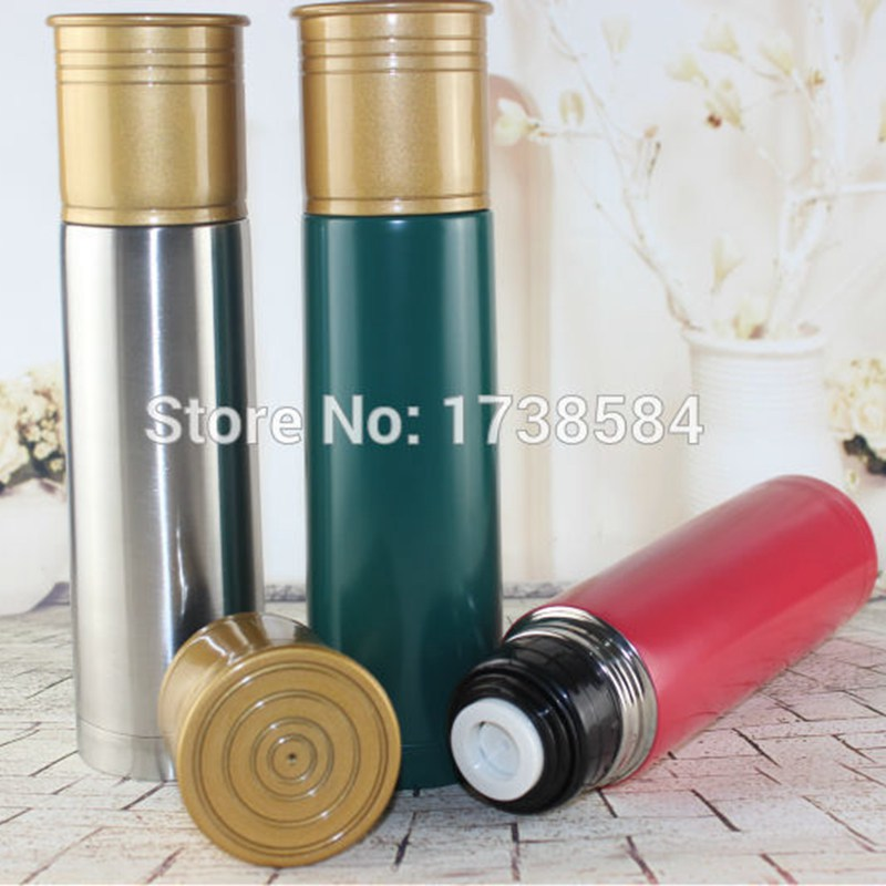 D Zine Shotgun Shell Cartridge 1Ltr Vacuum Drink Flask Thermos Hunting Outdoor