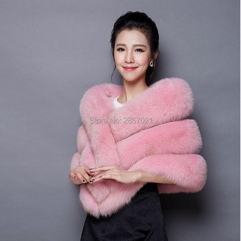 Multi Color High Quality Faux Fur Bridal Shawl 2018 Pink Red Black Gray White Short Bridal Wedding Jackets Wrap Dail Wear Shawl