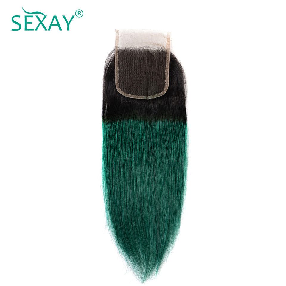 Sexay Green Ombre Human Hair Lace Closures 2 Tone 1B/Turquoise Ombre Brazilian Straight  ...