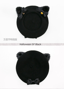 Image 3 - Black Cat Lolita Girls Cat Ears Bows Trim Drawers Beret Hat Halloween Kawaii Cute Woolen Painter Beret Cap 4 Colors