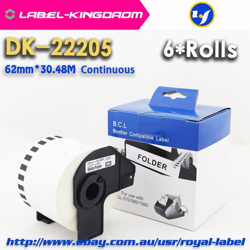 6 Rolls Compatible DK 22205 Label 62mm 30 48M Continuous Compatible Brother Printer QL 570 QL