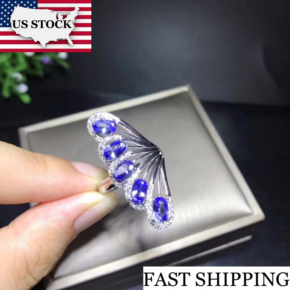 Natural Tested Tanzanite Gemstone Ring 925 Sterling Silver 3 5mm 5Pcs Birthstone Jewelry Gift Wedding Ring