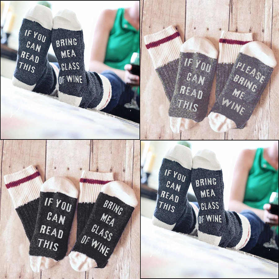 2018 fashion unisex Winter if you can read this bring me a glass of wine socks happy socks christmas kawaii funny sock 3 Colors
