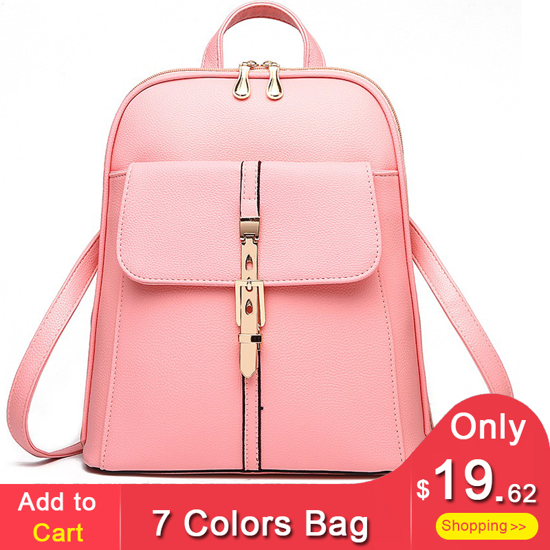 Leather Backpack Women 2018 New Bags for ladies Fashion 7 colors Pink Black Backpacks for Women Female Wholesale Drop Shipping swdf 2017 new korean style women s backpacks for female high quality pu leather backpacks ladies rivet bags 7 colors optional