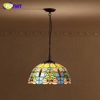 FUMAT Blue Goldfish Lamp Shade Pendant Lamp European Baroque Stained Glass Kitchen Lights Bar Living Room