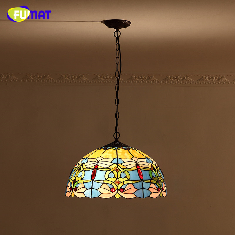 FUMAT Blue Goldfish Lamp Shade Pendant Lamp European Baroque Stained glass Kitchen Lights  Bar Living Room LED Pendant Lights fumat stained glass pendant lamps european style baroque lights for living room bedroom creative art shade led pendant lamp