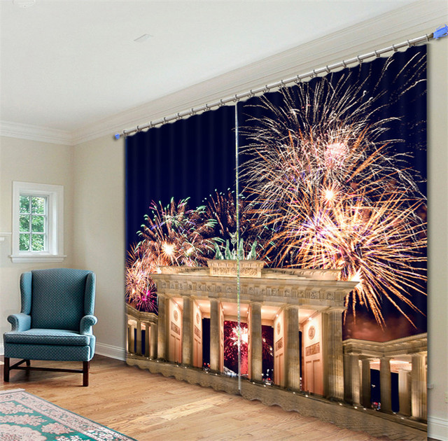 Blackout Fabric Cityscape 3D Window Curtains Drapes For Living Room Bed Hotel Decorative Home Wall