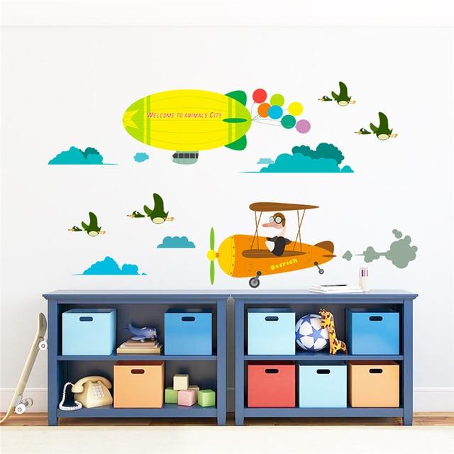 Cartoon Animals City Birds Fly Aircraft Wall Decals Kids Rooms Nursery Home  Decor Pvc Wall Stickers